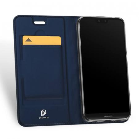 Husa Huawei P20 Lite 2019 Toc Flip Tip Carte Portofel Bleumarin Piele Eco Premium DuxDucis1