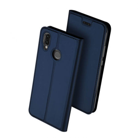 Husa Huawei P20 Lite 2019 Toc Flip Tip Carte Portofel Bleumarin Piele Eco Premium DuxDucis0
