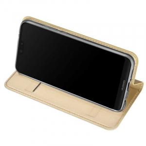Husa Huawei P20 Pro 2018 Toc Flip Tip Carte Portofel Auriu Gold Piele Eco Premium DuxDucis2