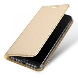 Husa Huawei P20 Pro 2018 Toc Flip Tip Carte Portofel Auriu Gold Piele Eco Premium DuxDucis3