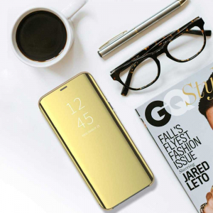 Husa Huawei P30 Lite 2019 Clear View Flip Toc Carte Standing Cover Oglinda Gold Auriu4