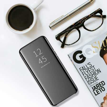 Husa Flip Mirror Huawei P40 Lite 2020 Negru Clear View Oglinda3