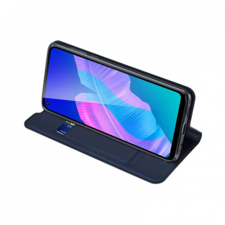 Husa Huawei P40 Lite 2020 Toc Flip Tip Carte Portofel Bleumarin Piele Eco DuxDucis2