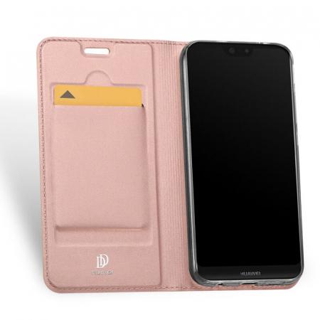 Husa Huawei P40 Lite E 2020 Toc Flip Tip Carte Portofel Roz Piele Eco Premium DuxDucis [1]