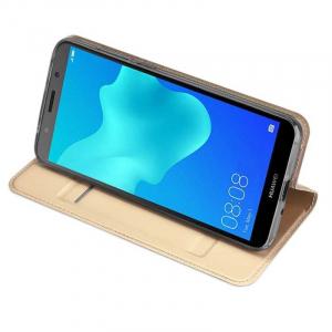 Husa Flip Huawei Y5 2018 Tip Carte Auriu Skin DuxDucis2