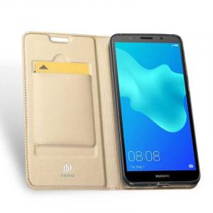 Husa Flip Huawei Y5 2018 Tip Carte Auriu Skin DuxDucis1