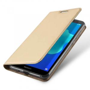 Husa Flip Huawei Y5 2018 Tip Carte Auriu Skin DuxDucis3