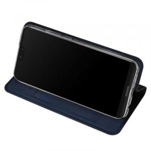 Husa Huawei Y5 2019 Albastru Toc Piele Eco Premium DuxDucis Portofel Flip Cover Magnetic2
