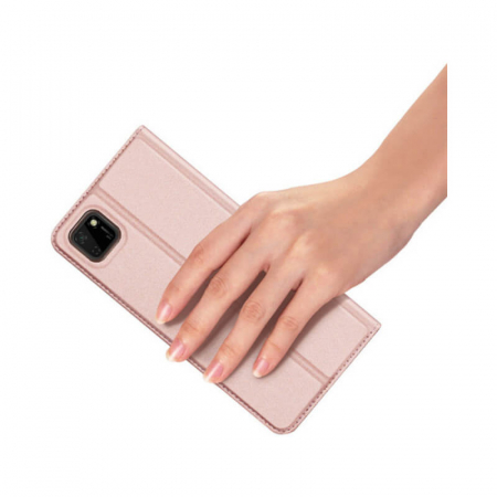 Husa Huawei Y5P 2020 Toc Flip Tip Carte Portofel Roz Piele Eco Premium DuxDucis [3]
