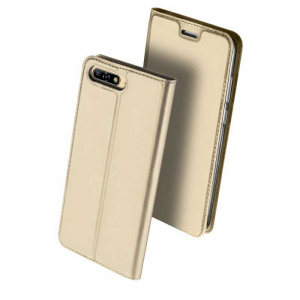 Husa Huawei Y6 2018 Gold Auriu Piele Eco Toc Tip Carte Portofel Premium DuxDucis [0]