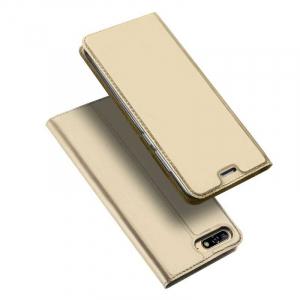 Husa Huawei Y6 2018 Gold Auriu Piele Eco Toc Tip Carte Portofel Premium DuxDucis [4]