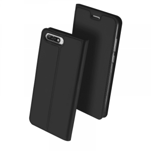 Husa Huawei Y6 2018 Negru Piele Eco Toc Tip Carte Portofel Premium DuxDucis0
