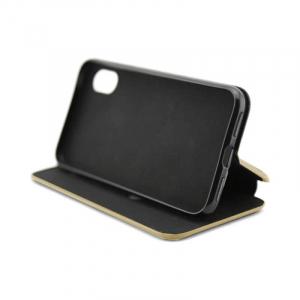 Husa Huawei Y6 2018 Toc Carte Gold Flip Cover din Piele Ecologica Portofel cu Inchidere Magnetica Auriu2