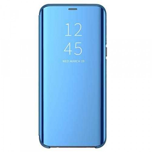 Husa Huawei Y6 2019 Clear View Flip Toc Standing Cover Oglinda Albastru Blue0