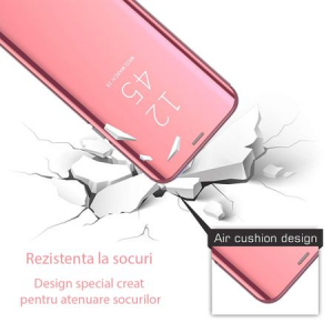 Husa Huawei Y6 2019 Clear View Flip Standing Cover (Oglinda) Roz (Rose Gold)1