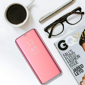 Husa Huawei Y6 2019 Clear View Flip Standing Cover (Oglinda) Roz (Rose Gold)4