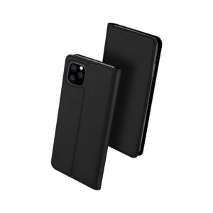 Husa iPhone 11 2019 Toc Flip Tip Carte Portofel Negru Piele Eco Premium DuxDucis [0]