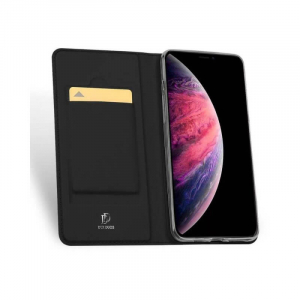 Husa iPhone 11 2019 Toc Flip Tip Carte Portofel Negru Piele Eco Premium DuxDucis [1]