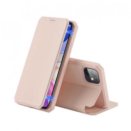 Husa iPhone 11 Toc Flip Tip Carte Portofel Roz Piele Eco X-Skin [0]