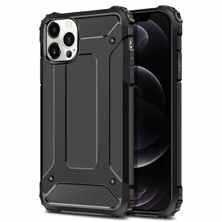 Husa iPhone 12Pro Silicon Antisoc Negru Hybrid Armor