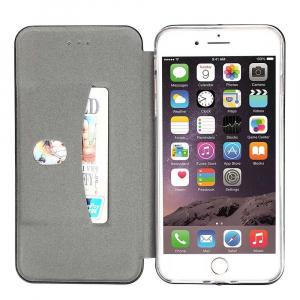 Husa iPhone 6 / 6S Tip Carte Flip Cover din Piele Ecologica Auriu Portofel cu Inchidere Magnetica (Gold)1