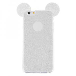 Husa iPhone 6 Plus Silicon Urechi Sclipici Silver0