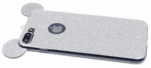 Husa iPhone 6 Plus Silicon Urechi Sclipici Silver2