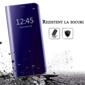 Husa iPhone 7 / 8 Clear View Flip Toc Carte Standing Cover Oglinda Mov (Purple)4