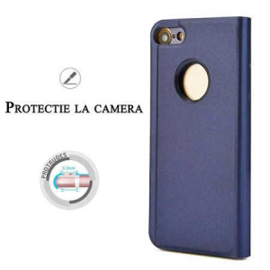 Husa iPhone 7 / 8 Clear View Flip Toc Carte Standing Cover Oglinda Mov (Purple)1
