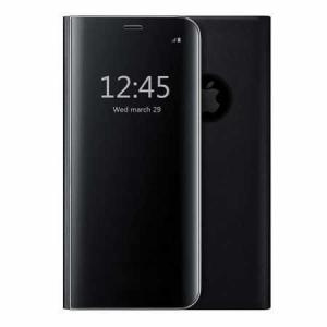 Husa iPhone 7 / 8 Clear View Flip Toc Carte Standing Cover Oglinda Negru (Black)0