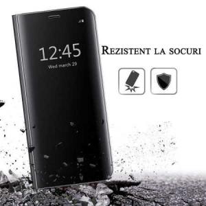 Husa iPhone 7 / 8 Clear View Flip Toc Carte Standing Cover Oglinda Negru (Black)3