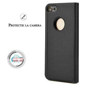 Husa iPhone 7 / 8 Clear View Flip Toc Carte Standing Cover Oglinda Negru (Black)1