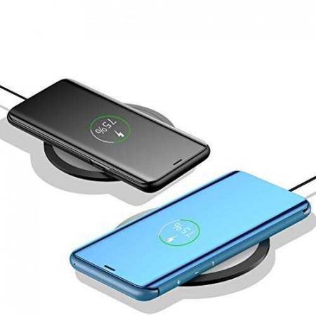 Husa iPhone 7 Plus / 8 Plus Clear View Flip Toc Carte Standing Cover Oglinda Albastru (Blue)2