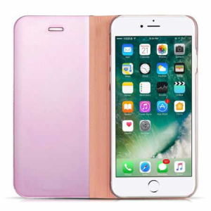 Husa iPhone 7 Plus / 8 Plus Clear View Flip Toc Carte Standing Cover Oglinda Roz (Rose Gold)4