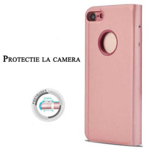 Husa iPhone 7 Plus / 8 Plus Clear View Flip Toc Carte Standing Cover Oglinda Roz (Rose Gold)1