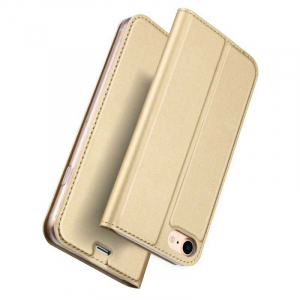 Husa iPhone 8 Toc Flip Tip Carte Portofel Auriu Gold Piele Eco Premium DuxDucis [4]