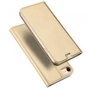 Husa iPhone 8 Toc Flip Tip Carte Portofel Auriu Gold Piele Eco Premium DuxDucis [0]