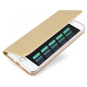 Husa iPhone 8 Toc Flip Tip Carte Portofel Auriu Gold Piele Eco Premium DuxDucis [3]