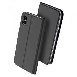 Husa iPhone X Toc Flip Tip Carte Portofel Negru Piele Eco Premium DuxDucis [0]