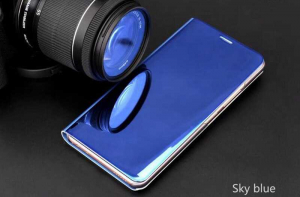 Husa iPhone X / XS  Clear View Flip Toc Carte Standing Cover Oglinda (Blue)2