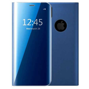 Husa iPhone X / XS  Clear View Flip Toc Carte Standing Cover Oglinda (Blue)0