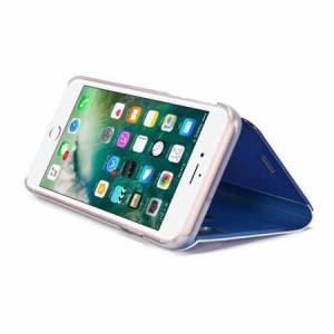 Husa iPhone X / XS  Clear View Flip Toc Carte Standing Cover Oglinda (Blue)1