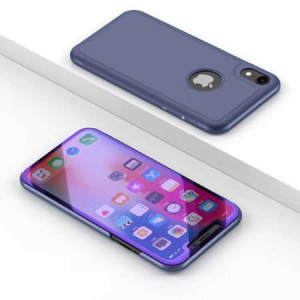 Husa iPhone X / XS  Clear View Flip Toc Carte Standing Cover Oglinda Mov (Purple)1