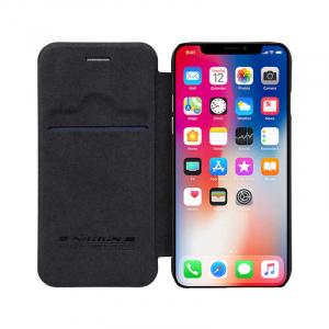 Husa Flip iPhone X / XS Negru Tip Carte Magnetica Nillkin Qin0