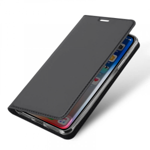 Husa Flip iPhone XR Tip Carte Negru Skin DuxDucis3