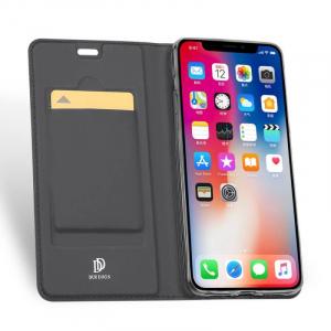 Husa Flip iPhone XR Tip Carte Negru Skin DuxDucis1