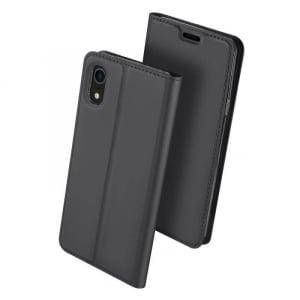Husa iPhone XR 2018 Toc Flip Tip Carte Portofel Negru Piele Eco Premium DuxDucis0
