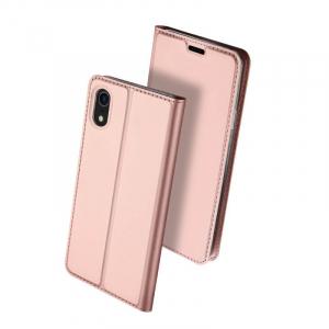 Husa iPhone XR 2018 Toc Flip Tip Carte Portofel Roz Piele Eco Premium DuxDucis0
