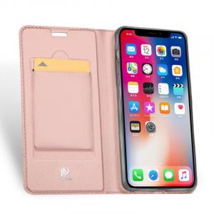 Husa iPhone XR 2018 Toc Flip Tip Carte Portofel Roz Piele Eco Premium DuxDucis1