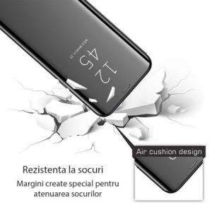 Husa iPhone Xr / iPhone 9 Clear View Flip Standing Cover (Oglinda) Negru (Black)2